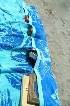 Add Pockets to your beach towel with this Simple Beach Towel Tutorial from Making it with Danielle and 40 Beach Tips and Tricks - Hacks and Ideas for Your Trip to the Sand
