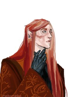 """melkomelko: """" was about to doodle Finrod, but suddenly changed my mind and decided to draw someone with cool red hair so here's…"""