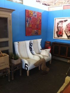 Set of armchairs upholstered with white Sailcloth with originaliteit signs and details set consist off a ladies version and gents version