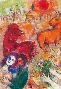 Marc Chagall: Das gelbe Dorf, 1968. Öl auf Leinwand; Sammlung Würth. © 2016, ProLitteris, Zurich
