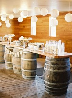 Great idea! Dessert bar made with wine barrels. Photo by Erich McVey Photography. www.wedsociety.com #wedding #decor