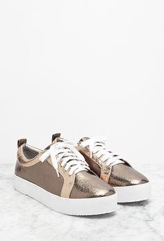 Metallic Flatform Sneakers   Forever 21   #stepitup