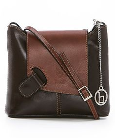 Loving this Dark Brown & Brown Asymmetric-Flap Leather Crossbody Bag on #zulily! #zulilyfinds