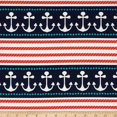 Michael Miller Ahoy Matey Stay The Course Repeating Stripe Navy from @fabricdotcom  Designed for Michael Miller Fabrics, this cotton print fabric is perfect for quilting and craft projects as well as apparel and home décor accents. Stripes run parallel to the selvage. Colors include orange, navy and white.