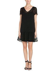 Ella Moss Sabine Black Polka Dot Silk Drop Waist Dress