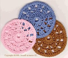 crocheted coasters - a few of these tied with a pretty bow would make a thoughtful Christmas gift. Try pairing them with hot chocolate mix and a mug!