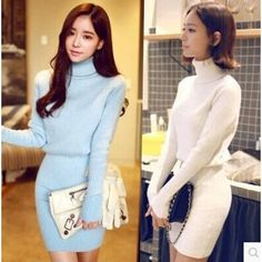 TE5001YYM Turtleneck tight hip long sleeve knitting dress