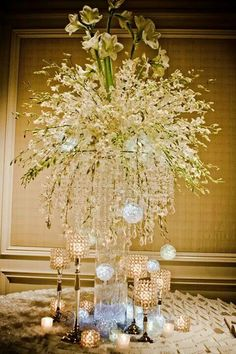 White, crystals tall centerpiece