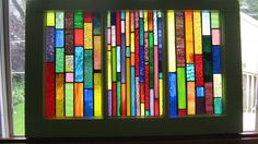 stained glass panels in Salvaged Wood Window -BOUNTY OF COLOR -Art-Suncatcher. $333.00, via Etsy.