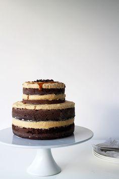 chocolate and caramel layer cake