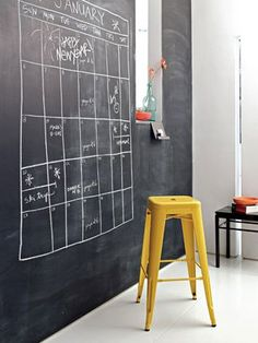 Add a coat of magnetic chalkboard paint to your office wall and you have an instant board for your calendar or a place to put your inspirational notes