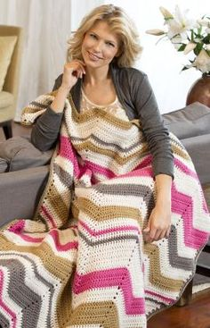 Best Free Crochet » Free Crochet Pattern Ripple Flash Dance Throw From RedHeart.com #117