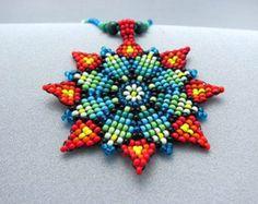 Items similar to Mandala Necklace, Seed Beaded Mandala, Flower beaded Necklace, Art jewelry, Mandala with Color Tips. on Etsy Seed Bead Necklace, Seed Beads, Beaded Necklace, Flower Necklace, Loom Beading, Beading Patterns, Native Beadwork, Flower Mandala, Sun Mandala