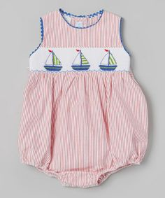 This Red Stripe Sailboat Bubble Bodysuit - Infant is perfect!love the inset of boats - could embroider this on a band for a dress Smocking Plates, Smocking Patterns, Organic Baby Clothes, Cute Baby Clothes, Baby Boy Outfits, Kids Outfits, Baby Couture, Heirloom Sewing, Little Girl Dresses