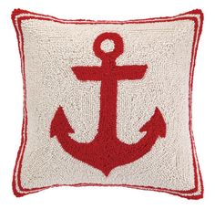Red Anchor Hook Pillow at Coastal Style Gifts