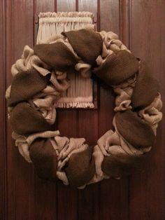 Year-round, tan and dark brown burlap wreath.