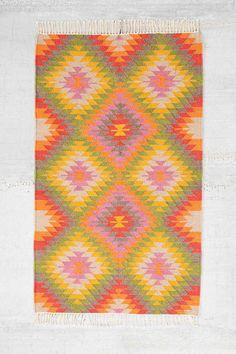 Gewebter, mehrfarbiger Kelim-Teppich, 3 x 5 Fuß