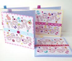 Easter Cards,Easter Egg Alphabet Design,PK of Four,Handmade,Personalised  £3.50