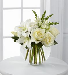 The FTD® Special Blessings™ Bouquet is a brilliantly beautiful arrangement to bring peace and comfort to your friends and family in their time of need. White roses, Asiatic lilies, snapdragons and car Funeral Bouquet, Funeral Flowers, Amazing Flowers, Fresh Flowers, Beautiful Flowers, Simple Flowers, White Flower Arrangements, Vase Arrangements, Wedding Centerpieces