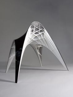 """GAUDI CHAIR """"Gaudi Chair, by Dutch designer Bram Geenen. Beautiful to see and technically quite interesting: the stucture has been based on using the same methods as Antoni Gaudi (models hanging. Impression 3d, Architecture Magazines, Architecture Design, Parametric Architecture, Modern Furniture, Furniture Design, Futuristic Furniture, Modern Desk, Plywood Furniture"""