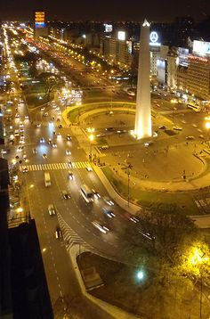 The Obelisk on 9 deJulio Av.Buenos Aires,Argentina.  Still the widest avenue in the world.