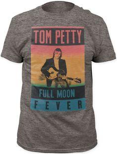 Tom Petty T-shirt - Tom Petty Full Moon Fever Album Cover Artwork | Men's Gray Vintage Shirt
