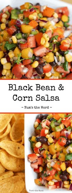 This Black Bean and Corn Salsa can't be beat!  Sweet corn, three kinds of bell peppers, red onions, black beans and more!  Packed with flavor this Black Bean Salsa, has become a family favorite for parties, late night snack and company potlucks!    #snack #appetizer #salsa #bellpeppers  #jalapenopeppers #rainbow #rainbowsalsa #redonions #cilantro #limejuice #corn #tomatoes #romatomatoes #garlic #quick #easy #makeahead #partydip #party #babyshower #potluck #numstheword #recipe #snackattack