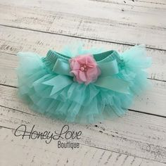 Mint/Aqua tutu skirt bloomers diaper cover embellished light pink shabby flower, ruffles all around, newborn infant toddler little baby girl by HoneyLove Boutique