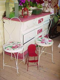 Vintage Iron Ice Cream Parlor Chairs Upcycled by SimplyCottageChic, $125.00