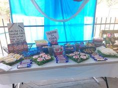 Baseball theme sweets buffet / candy bar. Sports Birthday, Buffet, Baseball Hats, Sweets, Candy, Bar, Baseball Caps, Gummi Candy, Caps Hats