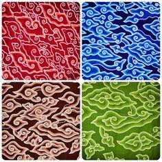 mega mendung, batik cirebon Mega Mendung, Cirebon, Traditional Fabric, My Heritage, Southeast Asia, Ikat, Bali, Exotic, Textiles