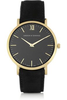 Larsson & Jennings Läder gold-plated watch. I think i've Pinned this before, but I don't care, I love it! | NET-A-PORTER