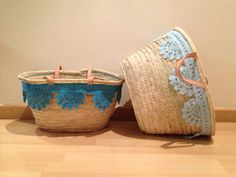 Cestos decorados Diy And Crafts, Arts And Crafts, Mexican Style, Fall Diy, Flower Basket, Knitted Blankets, Basket Weaving, Purses And Bags, Upcycle