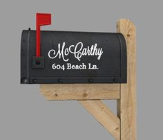 Custom family name with address mailbox vinyl decal  1 for