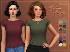 """trillyke: """" Peplum Blouse A simple but posh peplum blouse in a ton of lovely solid colours. Enjoy! • custom thumbnail •  26 swatches - 8 swatches from The Only Colours I Would Wear In Real Life Palette by @citrontart + 6 neutrals + 12 other colours •..."""