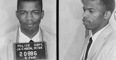A mugshot of now U.S. Congressman John Lewis, taken in 1961, after he was arrested for using a 'Whites Only' bathroom in Mississippi. (via J...