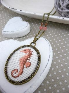 Peach Pink Seahorse Cross Stitch Necklace, Cross Stitch Jewelry, Embroidered Necklace, Handmade Jewelry, Peach Necklace, Seahorse Jewelry by TriccotraShop on Etsy
