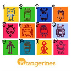 Robot Art Set of FIVE colorful wooden robot blocks by 15tangerines, $38.00