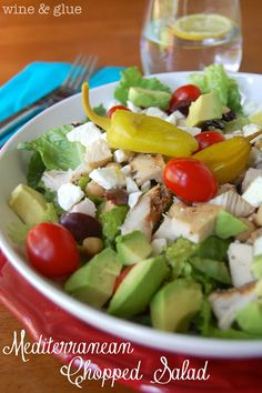 Mediterranean Chopped Salad - a simple, delicious, and super healthy meal! via www.WineAndGlue.com
