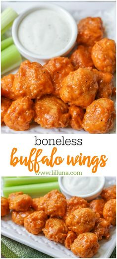 Boneless Buffalo Wings Spicy tender pieces of chicken that make the a delicious appetizer! These Boneless Buffalo wings are simple and are great for dinner or any party! Buffalo Chicken Recipes, Chicken Wing Recipes, Buffalo Chicken Bites, Recipe For Boneless Chicken Wings, Bonless Chicken Recipes, Buffalo Food, Buffalo Chicken Strips, Buffalo Wings, Dining