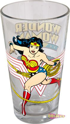 Hey all you Lynda Carter fans buy this Wonderwoman drinking glass at 80sTees.com!  It features the Amazonian princess in all her lassoing glory.  Speedy shipping order today!