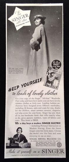 1936 Singer Sewing Machine singer electric original vintage print ad #SingerSewingMachine