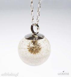 • naszyjniki, biżuteria - dmuchawiec zatopiony w żywicy