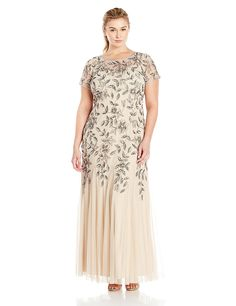 aee23b320231 Plus Size Wedding Guest Dress - Adrianna Papell Women s Plus Size Floral  Beaded Gown with Godets