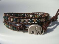 Fancy Jasper Beaded Leather Wrap Bracelet with Elephant Button by Tina610