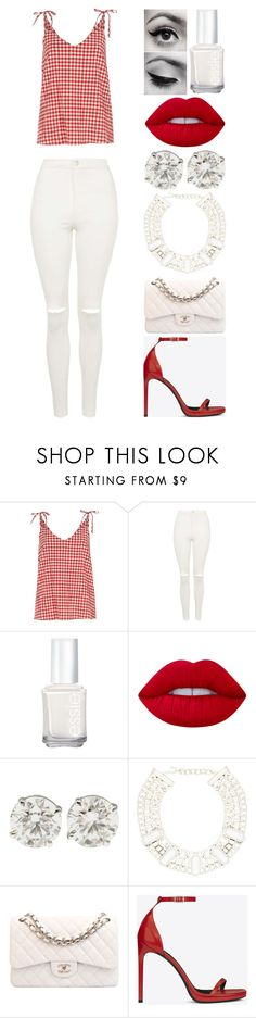 """""""cherry on top"""" by emmmalaw ❤ liked on Polyvore featuring River Island, Topshop, Essie, Lime Crime, Chanel and Yves Saint Laurent"""