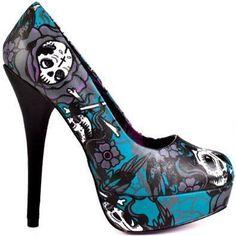 New Teal Crosswind Skull Tattoo Iron Fist Platform Heels Punk Rockabilly Goth 5 Dream Shoes, Crazy Shoes, Me Too Shoes, Heeled Boots, Shoe Boots, Shoes Heels, Pretty Shoes, Beautiful Shoes, Iron Fist Heels