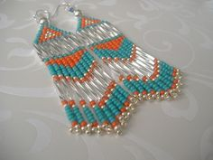 Hey, I found this really awesome Etsy listing at https://www.etsy.com/listing/179597571/beadwork-chevron-earrings-long-turquoise