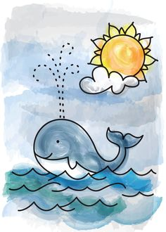Cruisin' - An original Illustration of a baby whale cruisin the ocean on a sunny day - by Carolyn Johnson