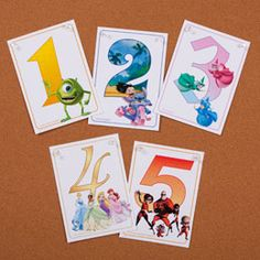 Disney Printable Flashcards Numbers